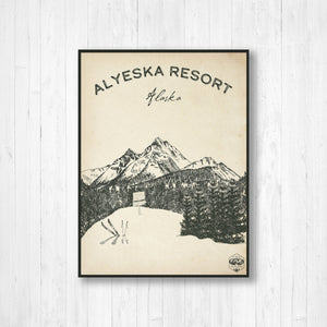 Alyeska Ski Resort Sketch Print