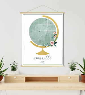 Amarillo Texas Street Map | Hanging Canvas