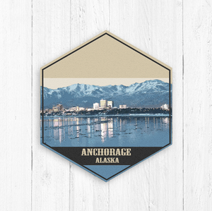 Anchorage Alaska Hexagon Illustration