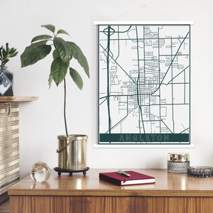 Angleton Texas Hanging Canvas Map