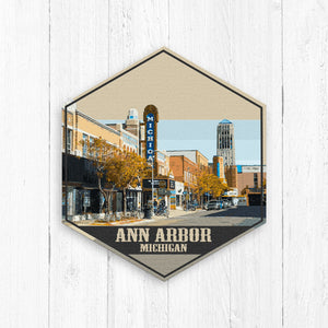 Ann Arbor Michigan Hexagon Canvas Illustration