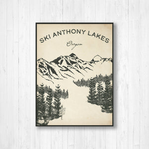 Anthony Lakes Ski Resort Sketch Print