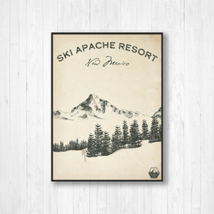 Apache Ski Resort Sketch Print