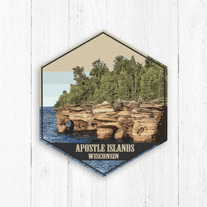Apostle Islands Wisconsin Hexagon Illustration Canvas