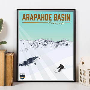 Arapahoe Basin Colorado Modern Illustration Print | Hanging Canvas of Arapahoe Basin Ski Resort | Printed Marketplace