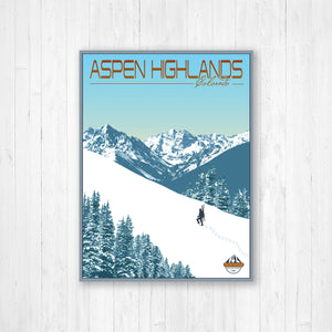 Aspen Highlands Colorado Modern Illustration Print | Hanging Canvas of Aspen Highlands Ski Resort | Printed Marketplace