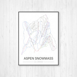 Aspen Snowmass Colorado Ski Trail Map | Hanging Canvas Ski Map of Aspen Snowmass | Printed Marketplace