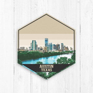 Austin Texas Hexagon Canvas Illustration