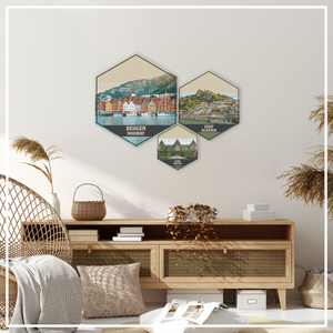 Thousand Springs Hexagon Canvas Illustration Print