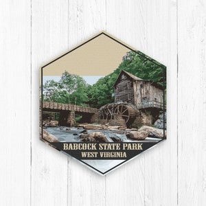 Babcock State Park West Virginia Hexagon Illustration