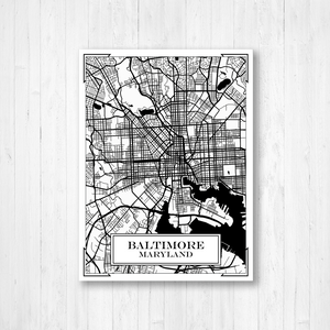 Baltimore Maryland City Street Map Print
