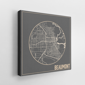 Hanging Canvas Map of Beaumont Texas