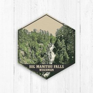 Big Manitou Falls Wisconsin Hexagon Illustration
