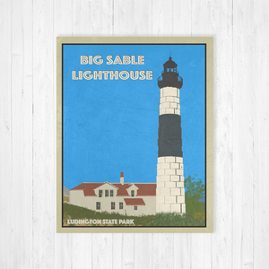 Big Sable Lighthouse Michigan Poster | Big Sable Travel Illustration | Printed Marketplace