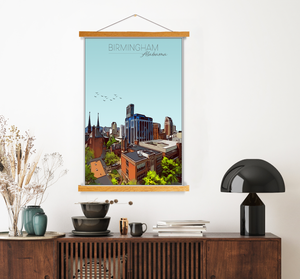 Birmingham, Alabama Illustration Print | Birmingham Hanging Canvas Print