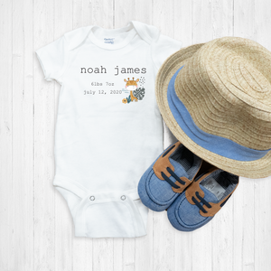 Baby Giraffe Birth Announcement Newborn Onesie®