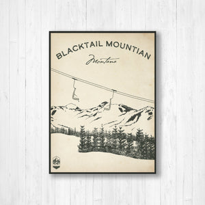 Blacktail Ski Resort Sketch Print