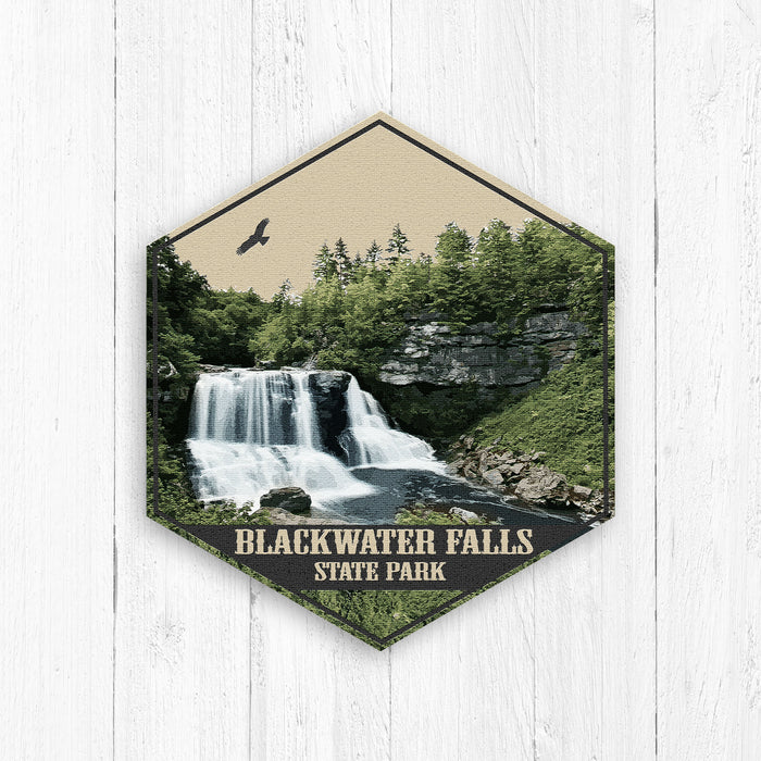 Blackwater Falls State Park West Virginia Hexagon Illustration