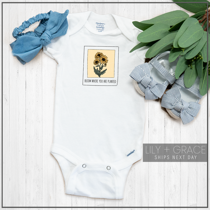 Bloom Where You Are Planted Onesie® | Floral Polaroid Tee | Newborn Apparel