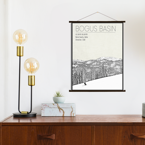 Hanging Canvas of Bogus Basin Ski Resort by Printed Marketplace