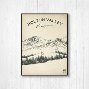 Bolton Valley Ski Resort Sketch Print