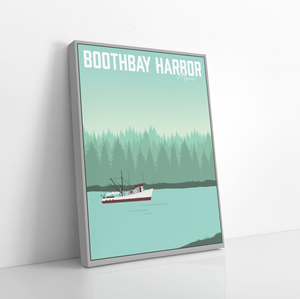 Boothbay Harbor Maine Modern Illustration Print