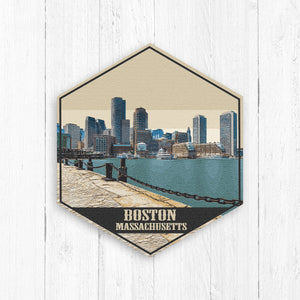 Boston Massachusetts Hexagon Illustration Print by Printed Marketplace