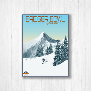 Bridger Bowl Montana Modern Illustration Print by Printed Marketplace