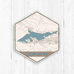 Custom Hexagon Lake Print Map by Printed Marketplace