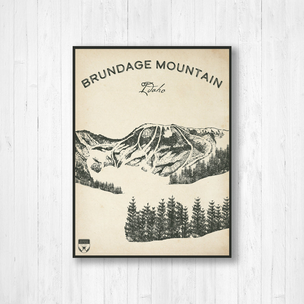 Brundage Idaho Ski Resort Sketch Print | Hanging Canvas of Brundage Ski Resort | Printed Marketplace