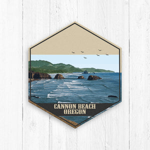 Cannon Beach Oregon Hexagon Illustration