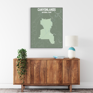 Hanging Canvas Map of Canyonlands National Park by Printed Marketplace