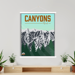 Hanging Canvas of Canyons Utah Ski Area by Printed Marketplace