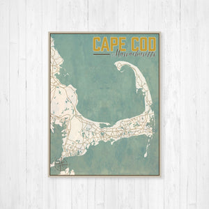 Cape Cod Massachusetts City Street Map Print