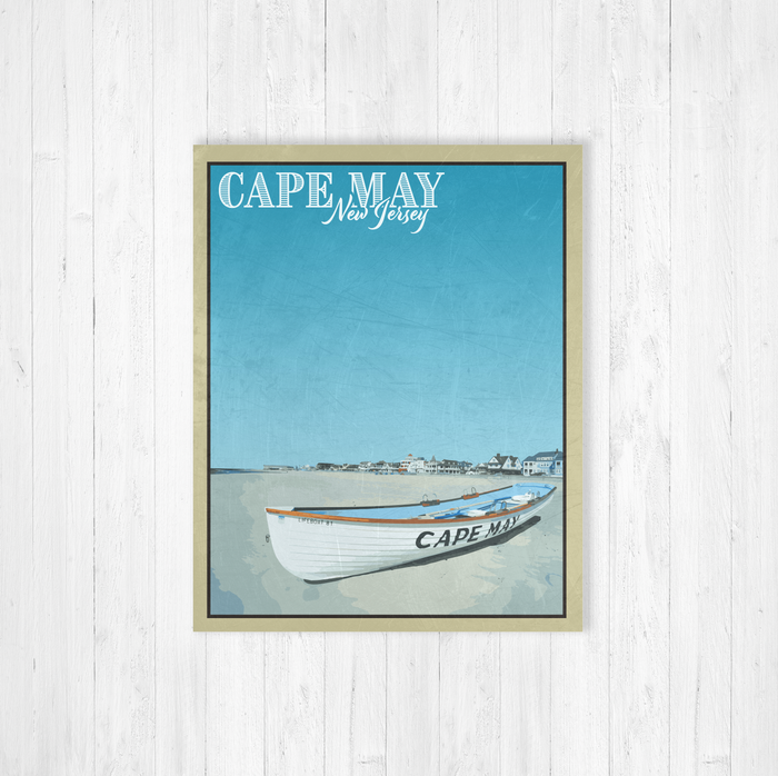 Cape May New Jersey Canvas Print Vintage Illustration