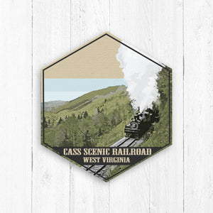 Cass Scenic Railroad West Virginia Hexagon Illustration