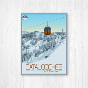 Cataloochee North Carolina Modern Illustration Print by Printed Marketplace