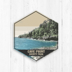 Cave Point County Park Wisconsin Hexagon Illustration