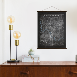 Cedar Rapids Iowa Charcoal Street Map