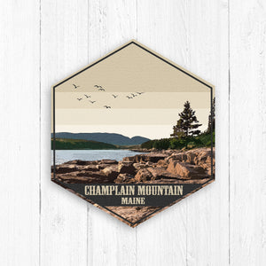 Champlain Mountain Maine Hexagon Canvas Print
