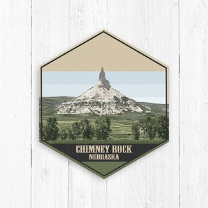 Chimney Rock Nebraska Hexagon Illustration by Printed Marketplace