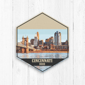 Cincinnati Ohio Hexagon Canvas Illustration