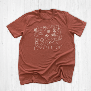 Illustrated  Connecticut Shirt By Printed Marketplace