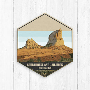 Courthouse and Jail Rock Nebraska Hexagon Illustration by Printed Marketplace