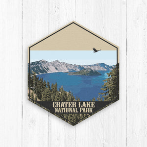 Crater Lake National Park Oregon Hexagon Illustration