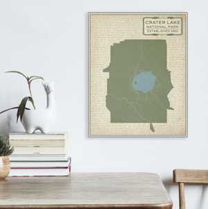 Crater Lake National Park Map Print | Hanging Canvas Map of Crater Lake National Park | Printed Marketplace