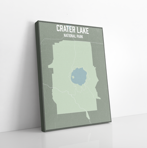 Hanging Canvas Map of Crater Lake National Park by Printed Marketplace