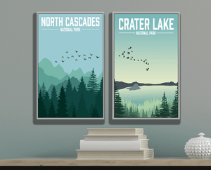 North Cascades National Park Modern Illustration Print