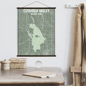 Hanging Canvas Map of Cuyahoga Valley National Park by Printed Marketplace
