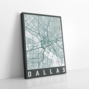 Dallas Street Map Hanging Canvas by Printed Marketplace